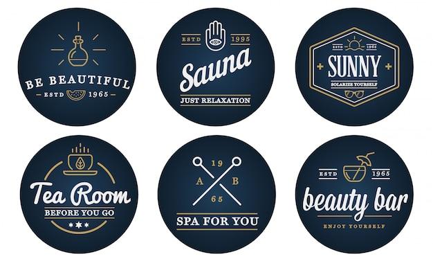 ベクトルスパ美容ヨガスポーツ要素図のセットは、プレミアム品質のロゴやアイコンとして使用できます。
