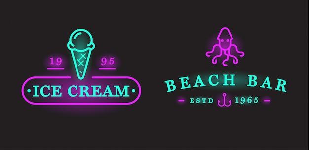ベクトルネオンサインビーチ海バー要素と夏のセット