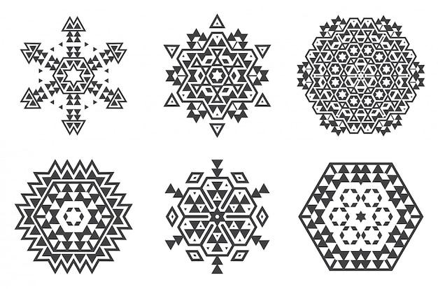 イスラエルユダヤ民族のフラクタルマンダラベクトルはスノーフレークまたはマヤアステカパターンまたは花のように見える