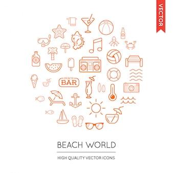 Векторный набор пляжных современных плоских тонких иконок, вписанных в круглую форму