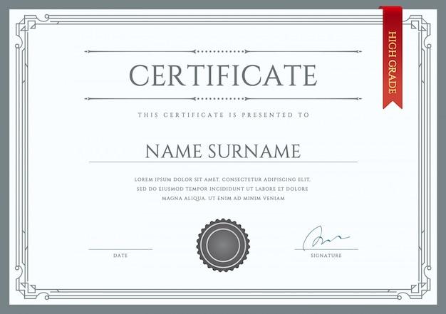 ベクトル証明書または卒業証書のテンプレート
