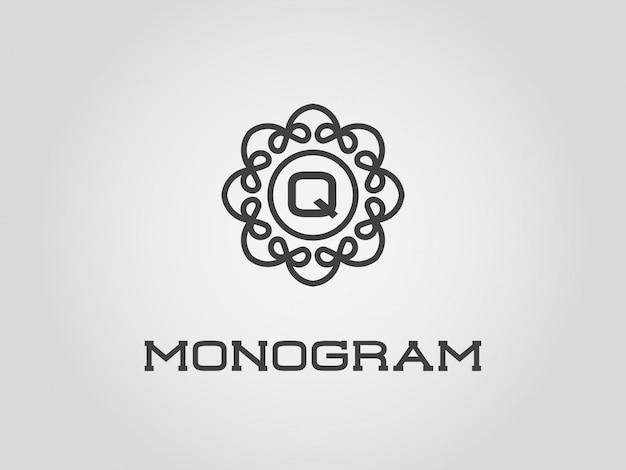 文字イラストプレミアムエレガントな品質のコンパクトなモノグラムデザインテンプレート