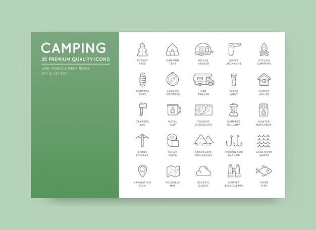 薄い狩猟キャンプスポーツ要素のセット
