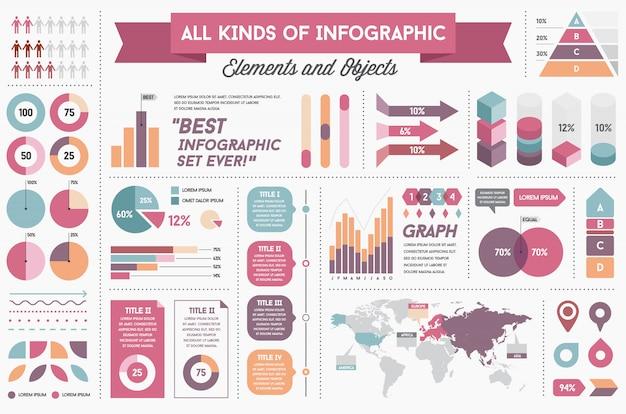 インフォグラフィック要素とオブジェクトの大きな巨大なセット