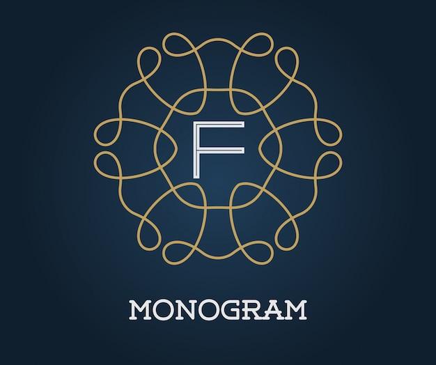 ネイビーブルーの文字イラストプレミアムエレガントな品質の金のモノグラムデザインテンプレート