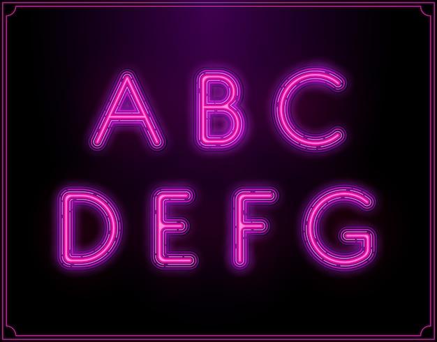 Неоновый шрифт алфавит. светящийся в.