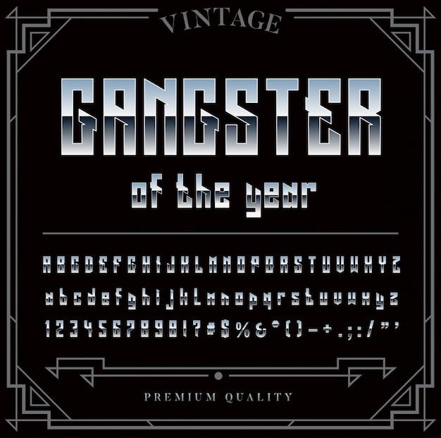 シルバーまたはクロームメタリックフォントセット。の文字、数字、特殊文字