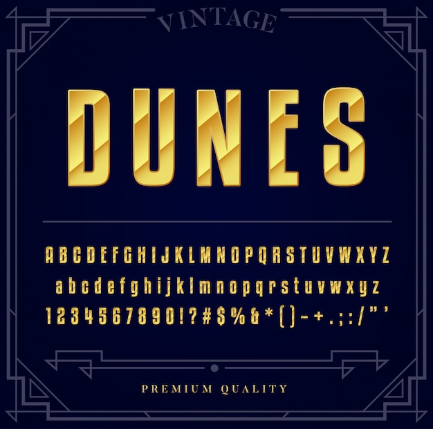 Золотой металлик набор шрифтов. буквы, цифры и специальные символы.