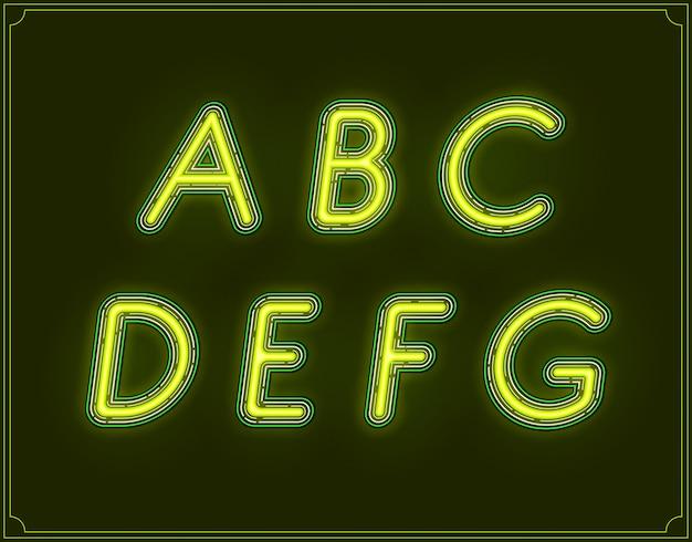 Неон курсив тип шрифта алфавит.