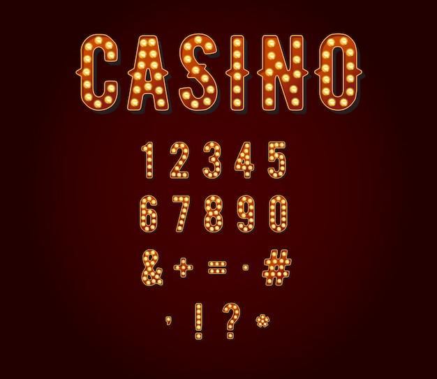 カジノまたはブロードウェイの看板風電球数字または数字