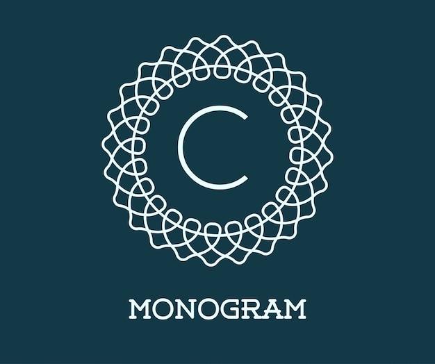 手紙とモノグラムデザインテンプレート。