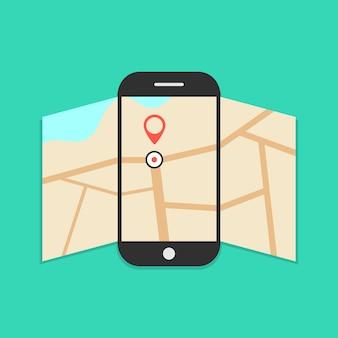 緑に分離されて開かれた地図を持つスマートフォン