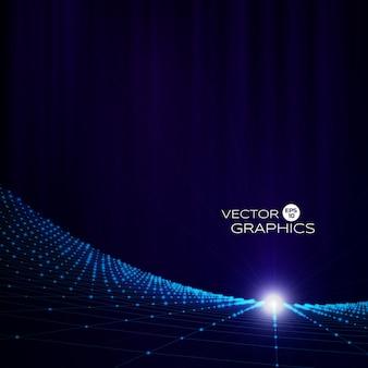 粒子とワイヤフレームの抽象的な技術的背景。光沢のある輝きを持つデジタル風景。