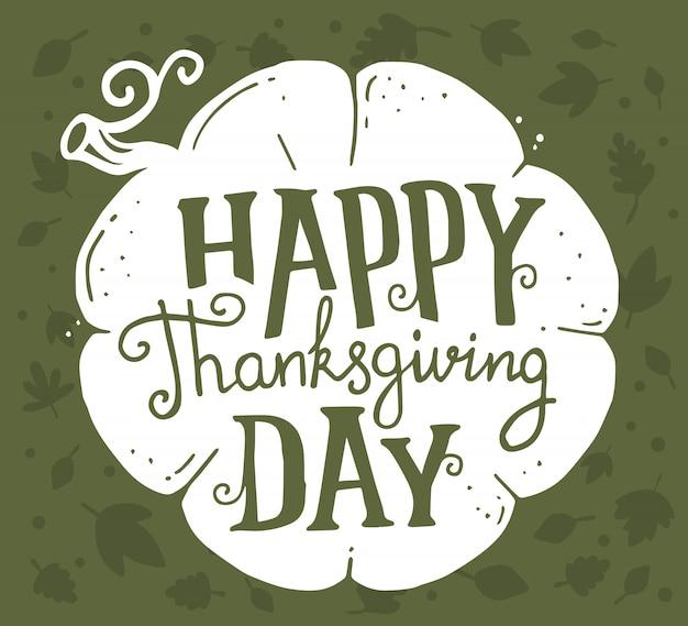 Белая тыква и текст счастливый день благодарения с осенними листьями на зеленом