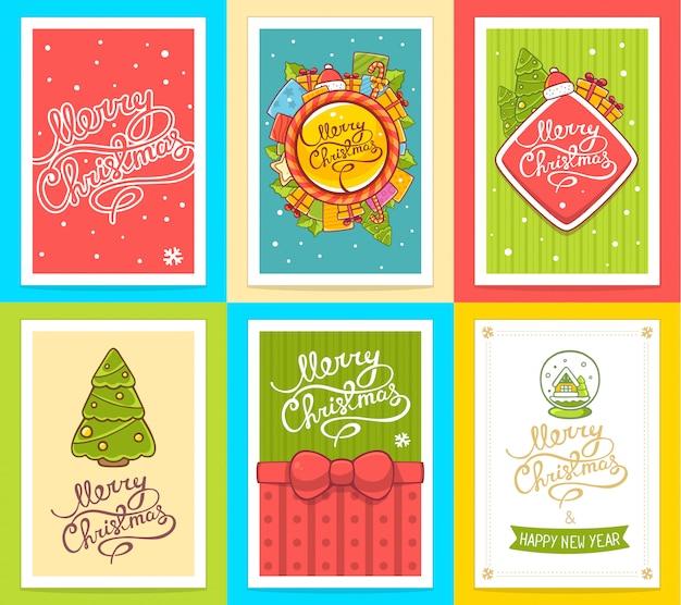 明るい背景に手書きのテキストとクリスマステンプレートのベクターコレクション。
