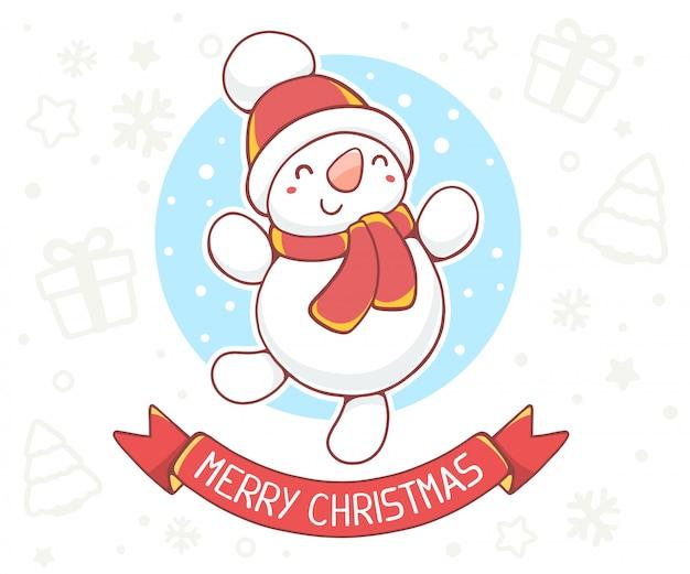 Иллюстрация стоящего полная длина снеговика с красной лентой