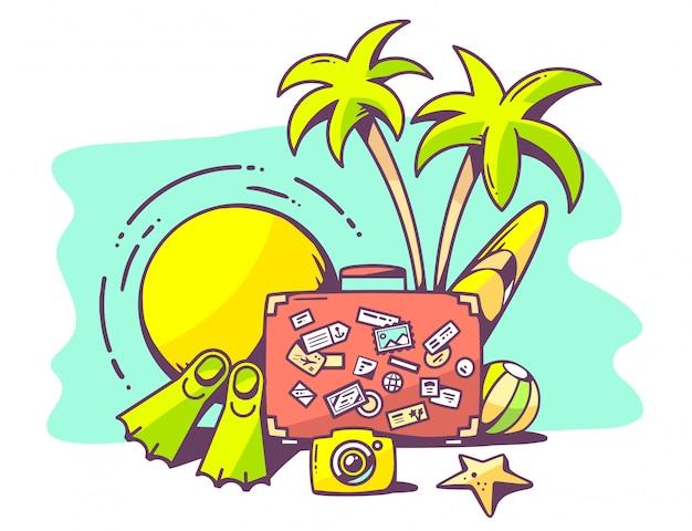 Иллюстрация летнего отдыха на зеленом фоне.
