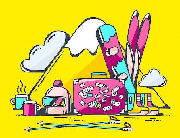 Иллюстрация розовый чемодан и зимние путешествия аксессуары на желтом фоне.