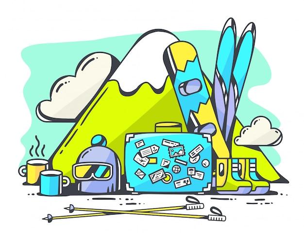 Иллюстрация синий чемодан и зимние путешествия аксессуары на зеленом фоне.