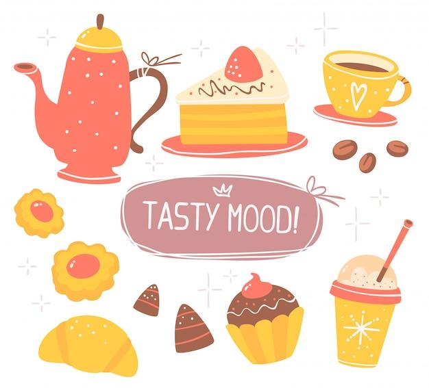 Красочный набор объектов темы красный и желтый кофе с текстом в коричневой рамке, изолированных на белом фоне с звездой.