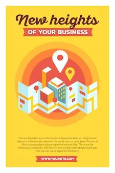 あなたのビジネスの新しい高さのヘッダーと黄色の背景上のテキストと現代の都市地図と地理標識の創造的なカラフルなイラスト。ジオナビゲーションポスターテンプレート。
