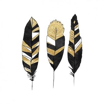 Черно-золотые перья дизайн