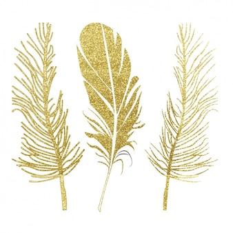 Дизайн золотые перья