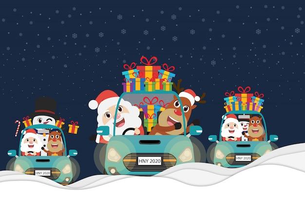 Санта-клаус, снеговик и олень за рулем автомобиля