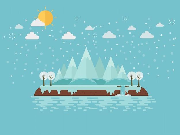 Зимний горный остров на льду