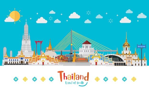 タイ旅行コンセプトフラットスタイルのタイで訪問するゴールデンパレス