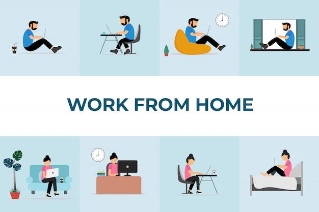 在宅勤務。自宅のラップトップに取り組んでいるチーム