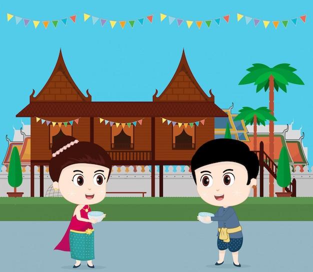 タイ旅行。ソンクラン祭りを祝う子供たち。ベクトルイラスト