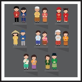 民族衣装でアジア人。東南アジア。伝統的な衣装での漫画のキャラクターのセットです。