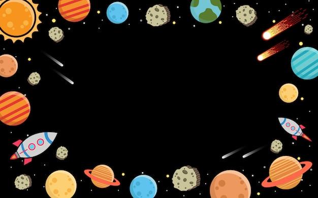 銀河と暗闇の中の惑星