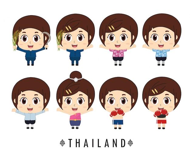 タイの子供たちの伝統的な衣装。
