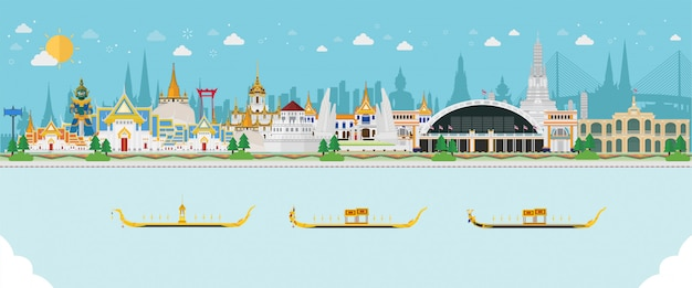 Путешествовать фон с тайским пейзажем
