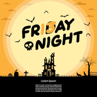 ハロウィーンの金曜日の夜と満月カード