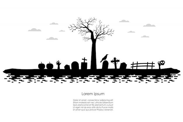 ハロウィーンの暗い墓地バナー