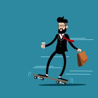 ビジネスマンはスケートボードで仕事に行きます。ベクロア