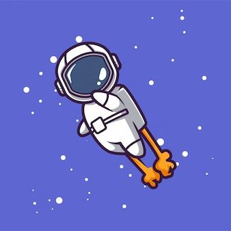 スペースマスコットデザインイラストでかわいい宇宙飛行士