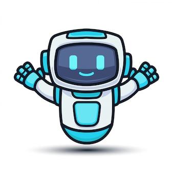 かわいい未来的なハイテクロボットマスコットデザインイラスト