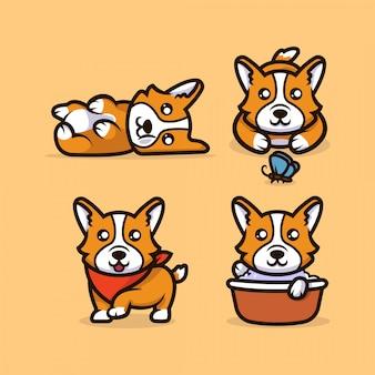 かわいいカワイイコーギー犬のマスコット