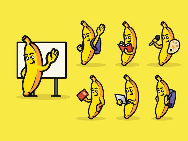 Милый обратно в школу банановый талисман
