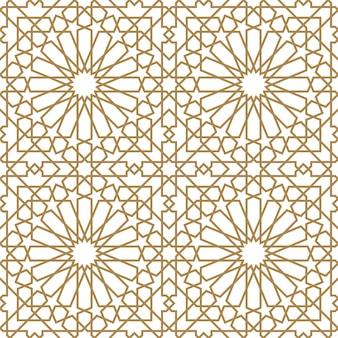 茶色のシームレスなアラビア語の幾何学的な飾り。太い線。