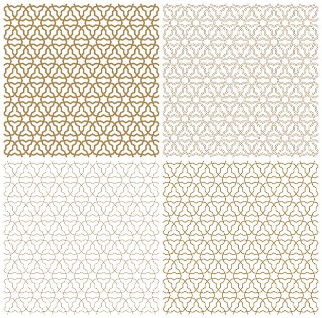 茶色のシームレスなアラビア語の幾何学的な飾り。線の太さのセット。