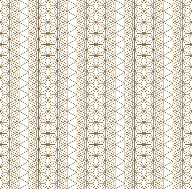 シームレスパターン伝統的な日本の幾何学的な飾り。ゴールデンカラーライン。