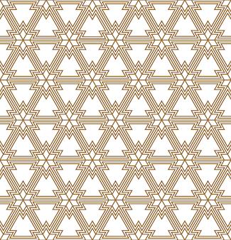 ライトブラウンの幾何学線のシームレスなパターン。