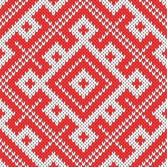 伝統的なロシアの飾りに基づくシームレスな編み物パターン。