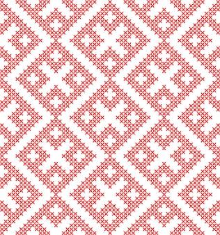 Традиционный русский этнический орнамент бесшовные вышитые крестиком.