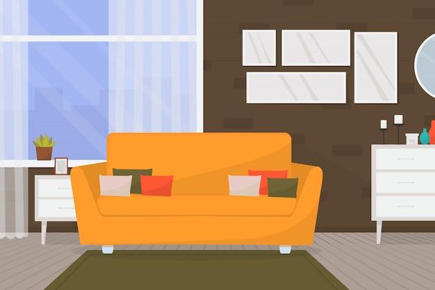 家具と大きな窓と居心地の良いリビングルームのインテリア。ホーム。モダンなアパートメント。